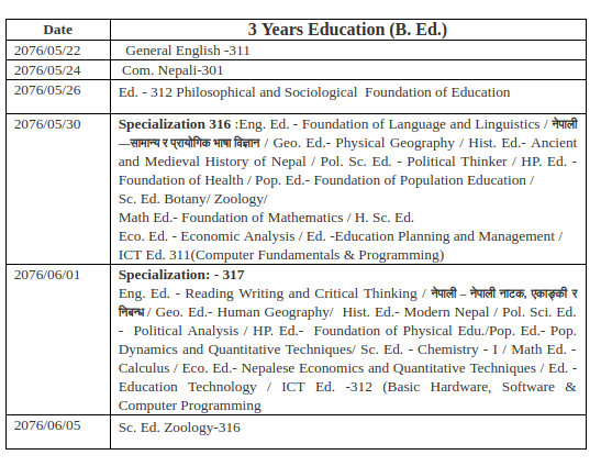 bed 3rd year exam routine